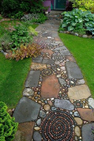 Contemporary Landscape/Yard with Butler arts black mexican beach unpolished pebble, Pebble floor, Mosaic, Outdoor lawn