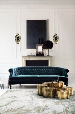 Traditional Living Room with Anthropologie Velvet Lyre Chesterfield Sofa, Eden Brass Big Centre Table, Ball Agate Sconce