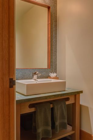 Contemporary Powder Room with Powder room, Slate counters, Vessel sink