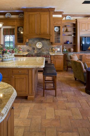 Country Kitchen with Standard height, Roterra slate tile, Inset cabinets, Roterra slate tile - meshed back patterns, One-wall