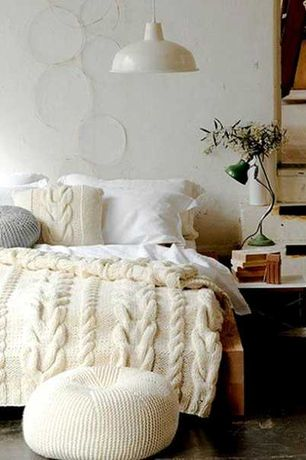 Rustic Guest Bedroom with Saro cotton twisted rope ottoman, Ikea foto pendant lamp, Pendant light, High ceiling