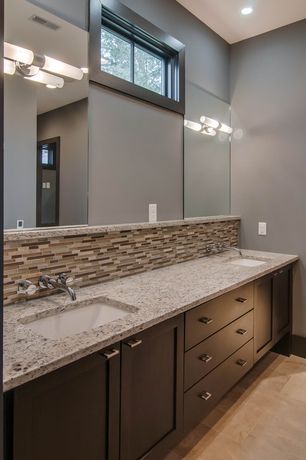 Contemporary Master Bathroom with Master bathroom, European Cabinets, Complex granite counters, Double sink, Machu picchu