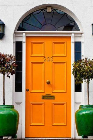 "Eclectic Front Door with Transom window, 20"" Ceramic Oriental Fishbowl Planter in Jade Green"