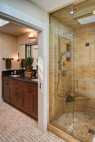 Craftsman Full Bathroom with Daltile Limestone Collection Arctic Gray Basketweave Tile, Standard height, Simple Granite