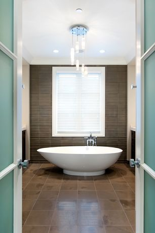 Contemporary Master Bathroom with specialty door, Freestanding, Elan 5-Light Spiral Multi-Light Pendant, Chandelier