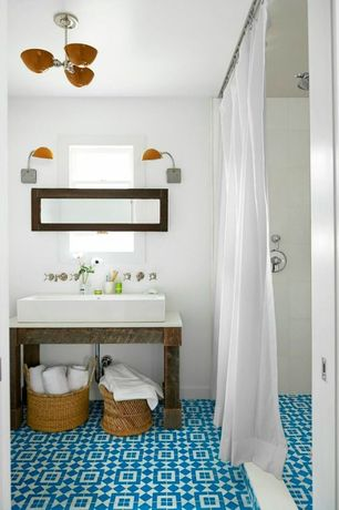 Contemporary 3/4 Bathroom with Pendant light, Daltile - semi-gloss white 6 in. x 6 in. ceramic wall tile, Mosaic floor tile