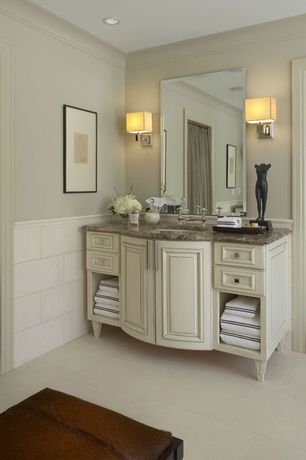 Traditional Master Bathroom with Simple granite counters, Undermount sink, Flat panel cabinets, Wall sconce, Flush