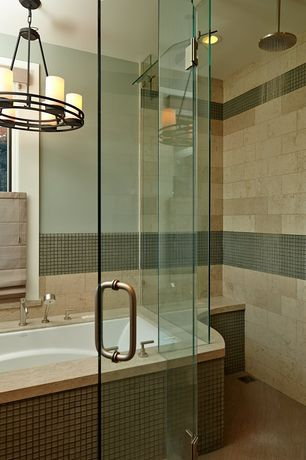 Traditional Master Bathroom with Wall Tiles, Illumine Rustic Ebony Single-Tier Chandelier, Chandelier, frameless showerdoor