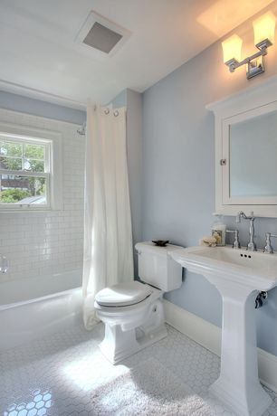 Cottage Full Bathroom with Paint, shower bath combo, Pedestal sink, penny tile floors, curtain showerdoor, Full Bath, Shower