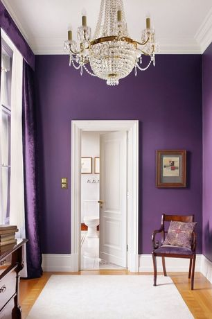 Traditional Master Bedroom with Paint, High ceiling, Purple rod pocket velvet curtain / drape / panel - piece, Crown molding