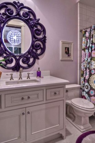 Eclectic Full Bathroom with ceramic tile floors, Corian counters, Inset cabinets, Undermount sink, curtain showerdoor, Paint