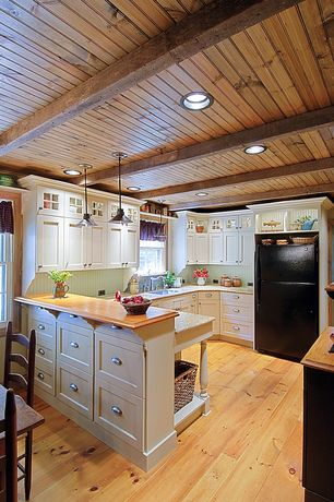Country Kitchen with Exposed beam, Quorum transitional 1 light pendant - finish: oiled bronze, double-hung window, U-shaped