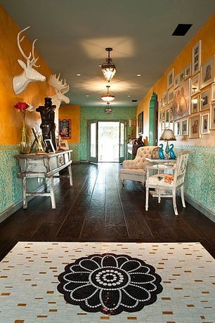 Eclectic Entryway with Standard height, Hardwood floors, French doors, can lights, interior wallpaper, flush light