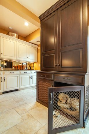 Traditional Kitchen with Flat panel cabinets, limestone tile floors, Flush, Thirsty dog bowls, L-shaped, High ceiling