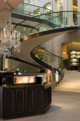 Modern Staircase with High ceiling, Loft, Spiral staircase, Concrete floors