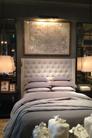 Contemporary Master Bedroom with Hardwood floors, Restoration Hardware Adler Tufted Fabric Headboard