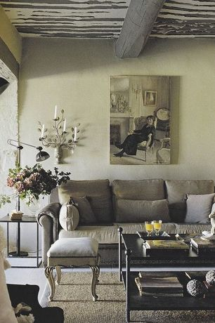Eclectic Living Room with Exposed beam, Standard height, Concrete tile