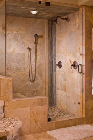 Rustic Master Bathroom with Handheld showerhead, flush light, frameless showerdoor, Master bathroom