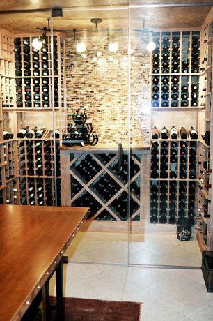 Contemporary Wine Cellar with Designer Series 132-Bottle Half Height Diamond Bin Wine Rack - Unfinished Redwood