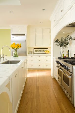 """Traditional Kitchen with Crown molding, European Cabinets, Viking - 48"""" gas range - vgcc, Flat panel cabinets, Flush"""