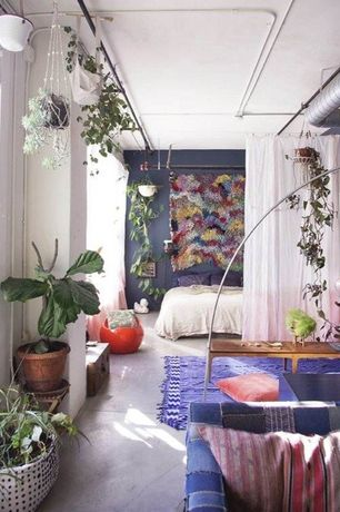Eclectic Master Bedroom with Fiddleleaf Fig Tree, Concrete floors, Handi Work Club Macrame Plant Hanger