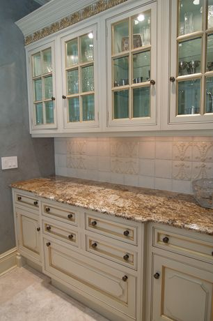Traditional Kitchen with Flat panel cabinets, Inset cabinets, full backsplash, Large Ceramic Tile, Standard height, One-wall