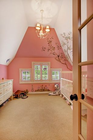 Traditional Kids Bedroom with Chandelier, Fisher price newbury convertible crib - snow white, Carpet, Mural, French doors