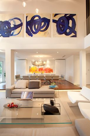 Contemporary Living Room with Loft, Cathedral ceiling, Pendant light, Columns, Carpet