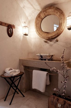 Rustic Powder Room with Hillcrest large hanging lantern in imperial bronze, Wall sconce, Powder room, Vessel sink, Paint