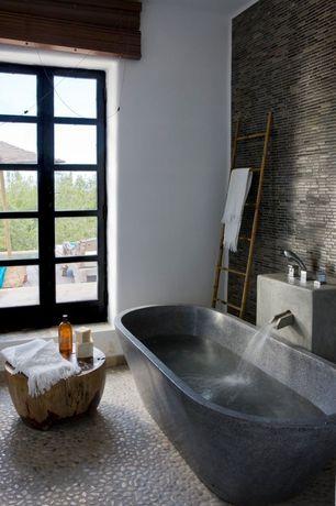 Contemporary Master Bathroom with Freestanding, quartz floors, Aquatica Karolina-Blck-Matte Freestanding AquaStone Bathtub