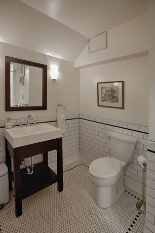 Traditional Powder Room with Home Decorators Collection Fraser Mirror, Restoration hardware hutton single console sink