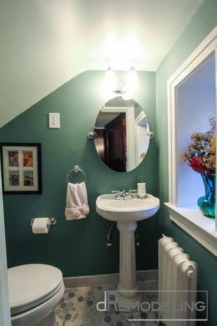 Cottage Powder Room with specialty door, Casement, Standard height, penny tile floors, Paint 1, Pedestal sink, Powder room