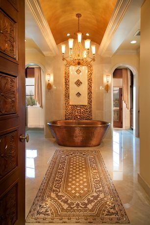 Mediterranean Master Bathroom with Freestanding, Polished marble flooring, French doors, High ceiling, Crown molding, Flush