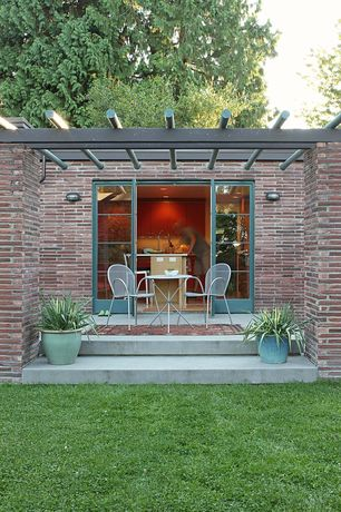Contemporary Patio with Trellis, French doors