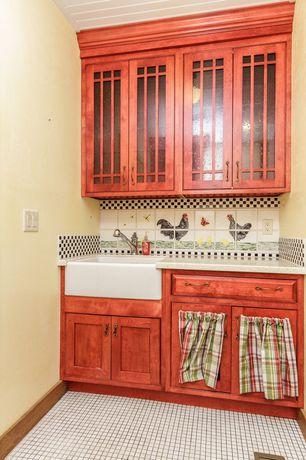 Craftsman Kitchen with full backsplash, Quartz counters, Signature hardware - baldwin fireclay farmhouse sink, Paint