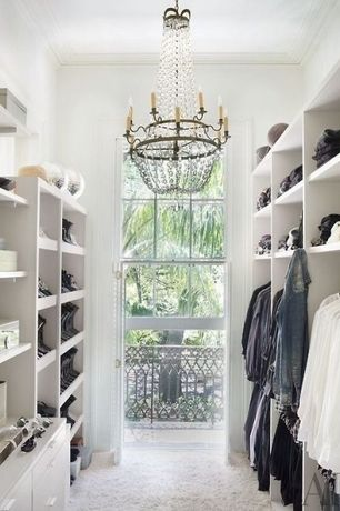 Contemporary Closet with Crown molding, Chandelier, Built-in bookshelf, Carpet
