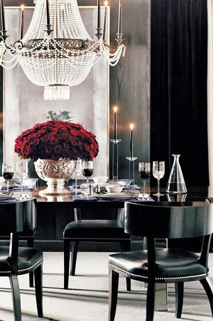 Contemporary Dining Room with Global Views Clear Tall Fat Bottom Decanter, Carpet, Classic Glass Candlesticks, Chandelier