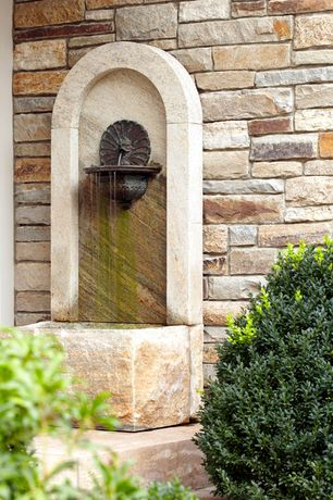 Traditional Landscape/Yard with Fountain, Wall fountain, Huckleberry Ledgestone, St. Aubin Wall Fountain