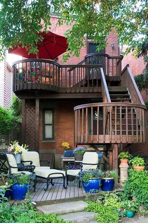 Traditional Deck with Pathway, Glazed ceramic pot, Deck Railing, Fence, Glass panel door, Casement