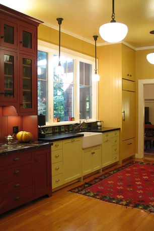 Cottage Kitchen with Glass panel, Farmhouse sink, European Cabinets, Soapstone counters, Pendant light, Standard height