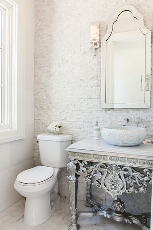 Traditional Powder Room with Paint 1, Cathedral mirror, Split face white marble tile, Complex marble counters, Vessel sink