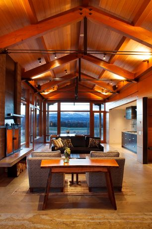 Contemporary Great Room with Vertical grain fir paneling, Built-in bookshelf, French doors, Fireplace, Exposed beam