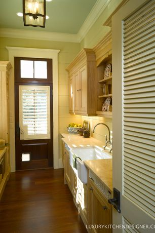 Cottage Laundry Room with Hardwood floors, flush light, Transom window, Glass panel door, Farmhouse sink, High ceiling