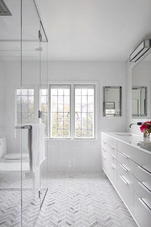 Modern Master Bathroom with Master bathroom, Shower, interior wallpaper, Double sink, full backsplash, European Cabinets