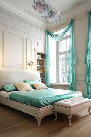 Traditional Master Bedroom with Built-in bookshelf, Nile Bedding - Bedding Deep Pocket Satin Sheet Set, Chair rail