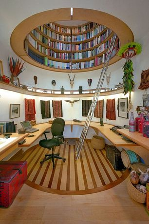 Eclectic Home Office with Ethnic textiles, U-shaped desk, Library rotunda, Hardwood floors, Round greek temple style, Paint