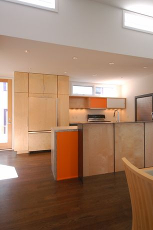 """Contemporary Kitchen with Glass panel, Casement, Panel ready 36"""" built-in bottom-freezer refrigerator, European Cabinets"""