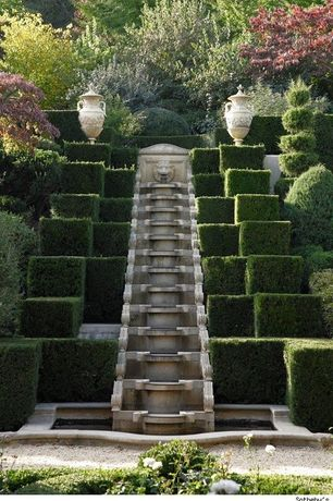 Traditional Landscape/Yard with Fountain, Albemarle, Formal, Formal garden, Topiaries, Oversized rustic ceramic urn, Symmetry