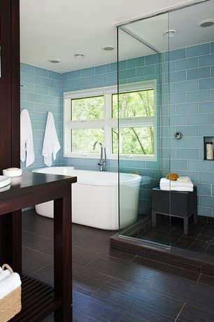"Contemporary Master Bathroom with Bamboo floors, Daltile Semi-Gloss 4 1/4"" x 4 1/4"" Ceramic Floor and Wall Tile, Freestanding"