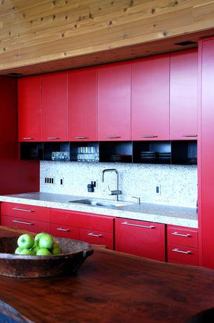 Modern Kitchen with European Cabinets, Flush, Kitchen island, Simple granite counters, Simple Granite, Undermount sink